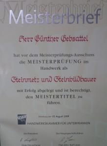Meisterbrief_Günther_Gebsattel